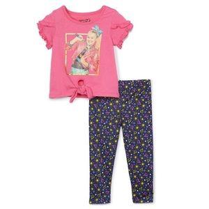 Pink Ruffle Tie-Hem Tee & Navy Heart Star leggings